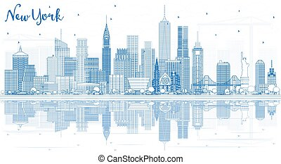 Outline New York USA City Skyline with Blue Buildings and Reflections.