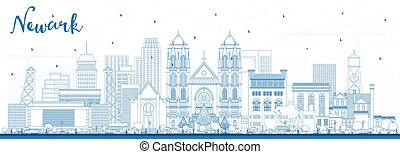 Outline Newark New Jersey City Skyline with Blue Buildings.