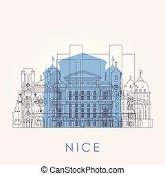 Outline Nice skyline with landmarks. Vector illustration.