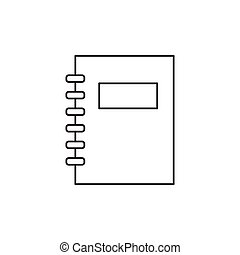 Outline notebook icon isolated on white background