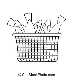 Outline of a basket with fishes