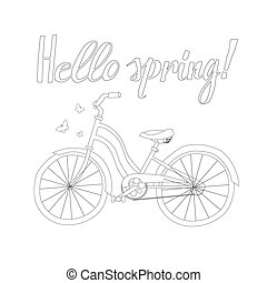 Outline of a Bicycle with the words Hello Spring
