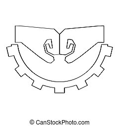 Outline of a fists on a gear. Teamwork icon