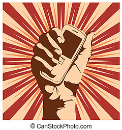 cell phone - Outline of a hand holding a cell phone. ...