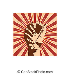 cell phone - Outline of a hand holding a cell phone. Vector ...
