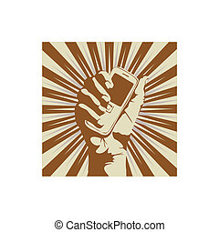 cell phone - Outline of a hand holding a cell phone. Vector...