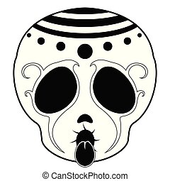 Outline of a happy mexican skull cartoon