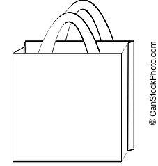 outline of a reusable shopping bag - illustration