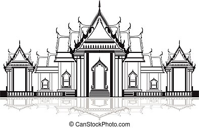 Thai Temple. - Outline of a Thai Temple.