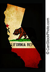 Outline of American USA California state with grunge effect flag insert