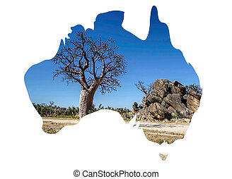 Outline of Australian map with boaboab trees