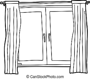 Black outline cartoon of casement windows with curtains