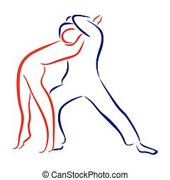 outline of dancing couples