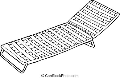 Outline of Deck Chair - Outline cartoon of striped deck...