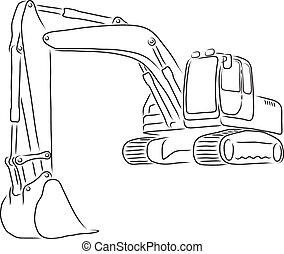 Outline Of Excavator Vector Illustration