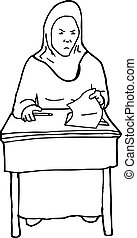 Outline of Frustrated Student at Desk