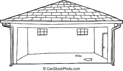 Outline of Garage with Stains on Floor - Outline of empty...