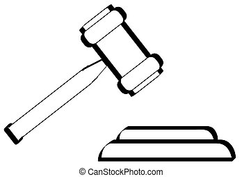 outline of gavel - hammer of judge or auctioneer