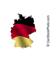 Germany - Outline of Germany, fileld with its waving flag