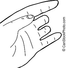 Outline of Hand with Missing Fingers - Outline cartoon of...