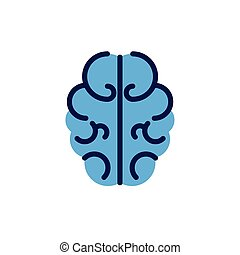 outline of human brain on white background