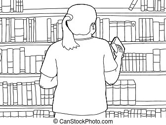 Outline of Librarian Shelving Book - Outline cartoon of...