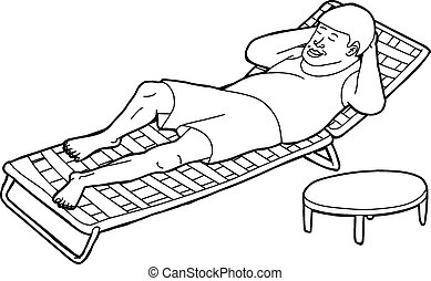 Outline of Man on Deck Chair - Outline of single man resting...