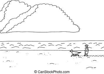 Outline Of Man Walking Dog On Beach