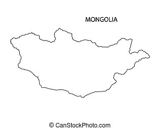 Outline Of Kazakhstan Map Vector Illustration Search Clipart - Mongolia map vector
