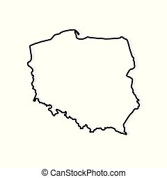 outline of Poland map- vector illustration