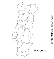 Clipart Vector Of Blue Map Of Portugal Districts On Separate - Portugal map outline
