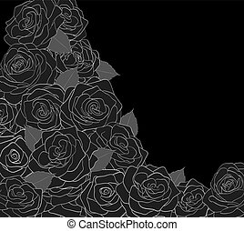 Outline of roses on a black background