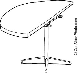 Single cartoon outline of wooden round table half with legs