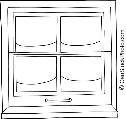 Outline of closed window blinds Illustration of window with