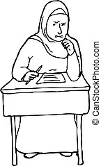 Outline of Struggling Student at Desk