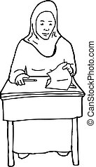 Outline of Student at Desk