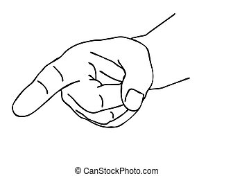 outline of the hand on white background