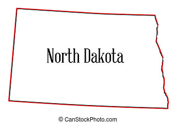 North Dakota - Outline of the state of North Dakota isolated