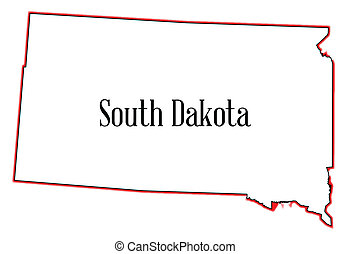 South Dakota - Outline of the state of South Dakota isolated