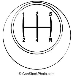 outline of the top view of automotive stick or gear shift
