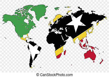 Outline of the World with the Flag of Saint Kitts and Nevis...