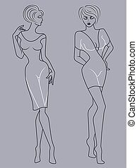 Abstract outline of two elegant ladies in fashionable clothes isolated on the muted blue gray background