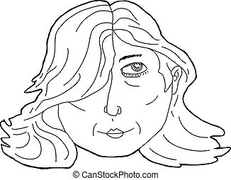 Outline of Woman Looking Up