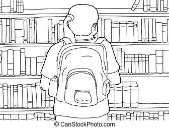 Outline of Woman with Backpack at Library