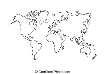 Simplified Black Outline Of World Map Divided To Six Vector - World map black outline