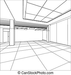 Outline office room. EPS 10 vector format