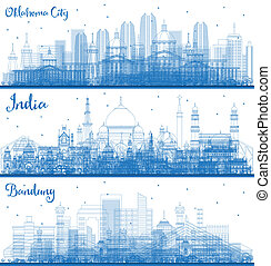 Outline Oklahoma City, Bandung Indonesia and India City Skylines Set with Blue Buildings. Travel and Tourism Concept with Famous Historic Architecture. Cityscapes with Landmarks.