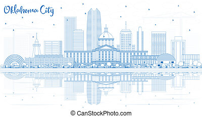 Outline Oklahoma City Skyline with Blue Buildings and ...