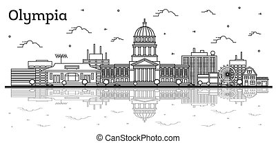 Outline Olympia Washington City Skyline with Modern Buildings and Reflections Isolated on White.
