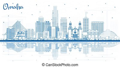 Outline Omaha Nebraska City Skyline with Blue Buildings and Reflections. Vector Illustration. Business Travel and Tourism Concept with Historic Architecture. Omaha USA Cityscape with Landmarks.